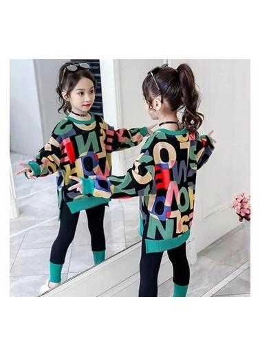 Quzucuk Kids Kız Çocuk Harfler Figürlü Yeşil Tunik Takım Renkli
